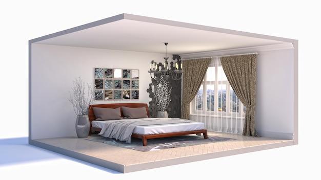 Ilustración interior de la habitación en una caja