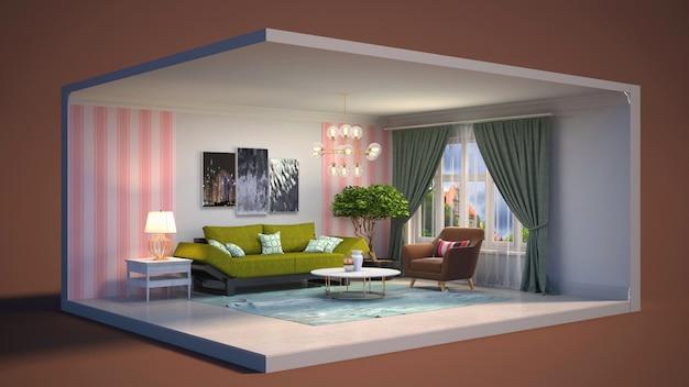 Ilustración interior de la sala de estar en una caja