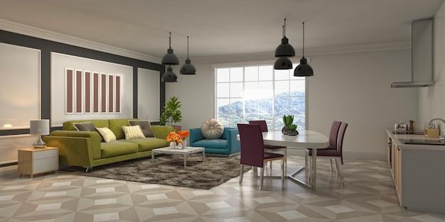Ilustración del interior de la sala de estar.