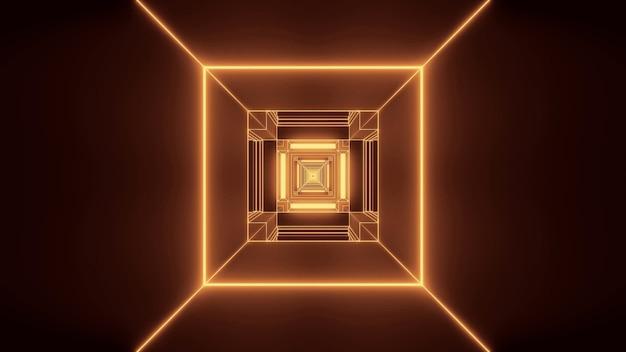 Ilustración de luces doradas en formas rectangulares que fluyen en una sola dirección