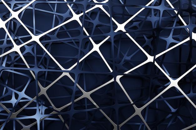 Ilustración de malla de metal negro 3d. fondo texturizado ornamento abstracto brillante.
