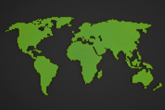 Ilustración de mapa del mundo punteado aislado sobre fondo blanco.