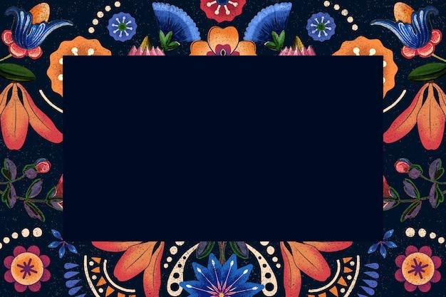 Ilustración de marco étnico con estampado de flores mexicano
