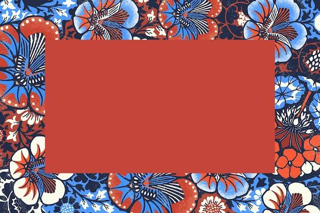 Ilustración de marco floral vintage con patrón batik, remezclado de obras de arte de dominio público