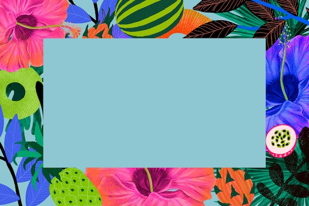 Ilustración de marco de flores tropicales en tono colorido