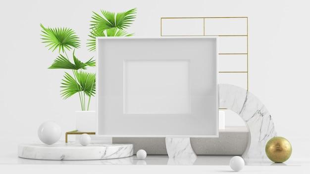 Ilustración de marco simulado sobre fondo abstracto representación 3d