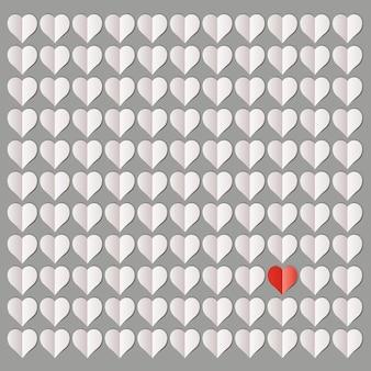 Ilustración de más de cien corazones blancos con un solo corazón rojo