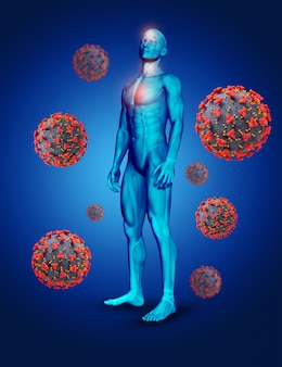 Ilustración médica en 3d con figura masculina y células del virus covid 19