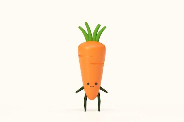 Una ilustración del modelado de las verduras de la planta de zanahoria 3d rinde, concepto sano de la comida.