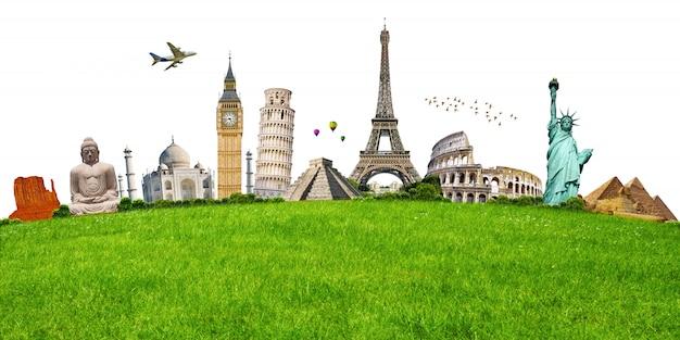 Ilustración del monumento famoso en la hierba verde