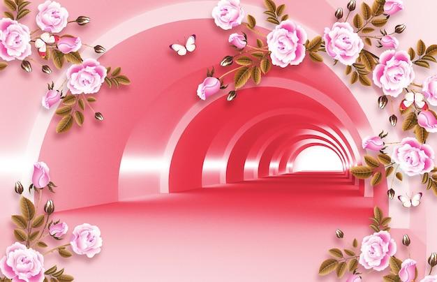 Ilustración mural espacio vacío en fondo 3d con ramas flores papel tapiz decorativo.