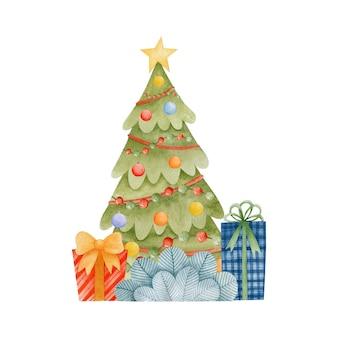 Ilustración de navidad acuarela tarjeta de felicitación de feliz año nuevo felices fiestas