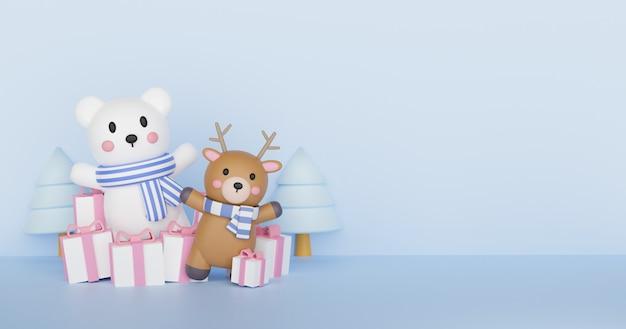 Ilustración de navidad con un oso blanco. representación 3d.
