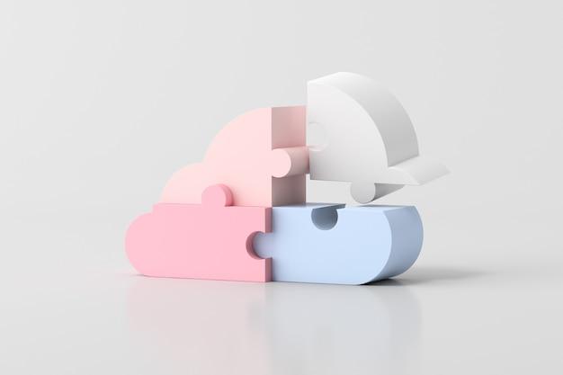Ilustración de la nube en el diseño de concepto de piezas de rompecabezas, renderizado 3d.