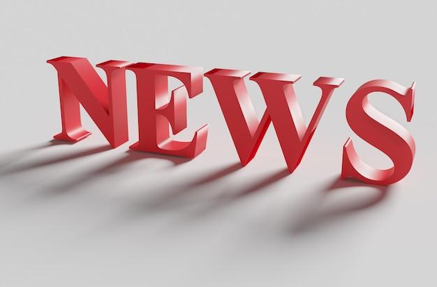 Ilustración de la palabra roja noticias con sombra