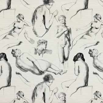 Ilustración de papel tapiz estampado desnudo femenino