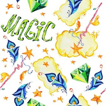Ilustración de patrones sin fisuras mágica artística con elementos artísticos dibujados a mano aislados sobre fondo blanco - varita mágica, estrellas, cristal.