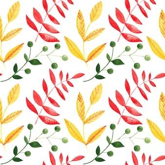 Ilustración de patrones sin fisuras de ramas acuarelas con licencia