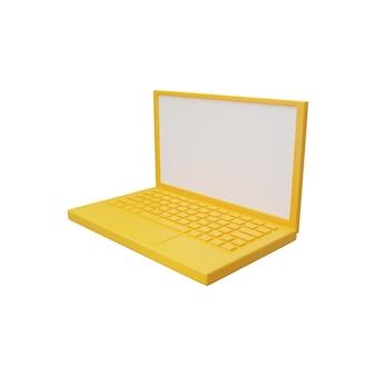 Ilustración de portátil 3d aislado en blanco. ilustración de computadora portátil 3d aislado