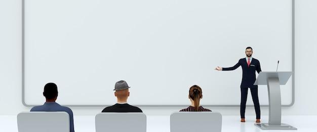Ilustración de presentación de negocios frente a personas sobre fondo blanco, representación 3d