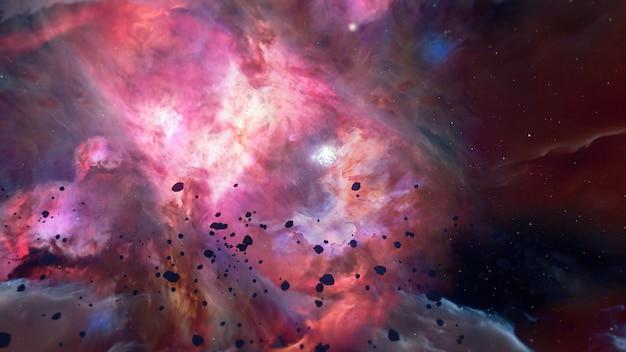 Ilustración para publicidad y papel tapiz en el espacio y representación de escenas de ciencia ficción en concepto de fantasía de ciencia ficción