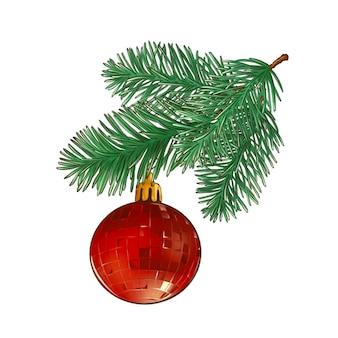 Ilustración de la rama de un árbol de navidad con bola roja de navidad