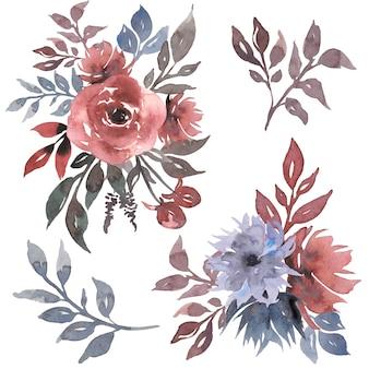Ilustración de ramo floral acuarela con flores gris rosa y azul marino