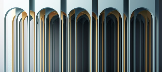 Ilustración de render 3d en estilo geométrico moderno arco y escalera