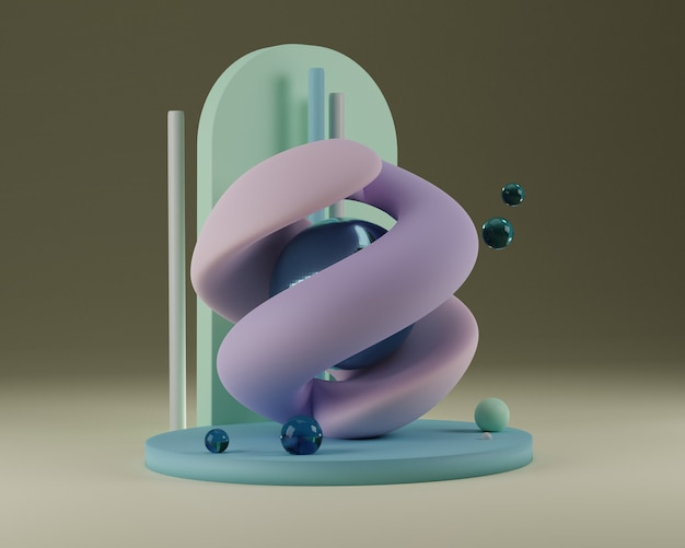 Ilustración de render 3d de geometría de abstracción de escenario de forma de curvas suaves