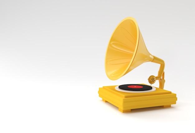 Ilustración de render 3d de gramófono sobre fondo de color