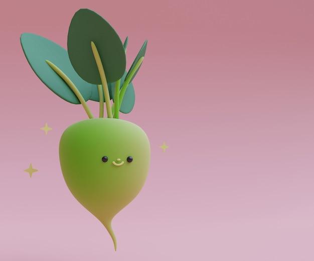 Ilustración de render 3d lindo de dibujos animados de rábano con cara vegetal 3d