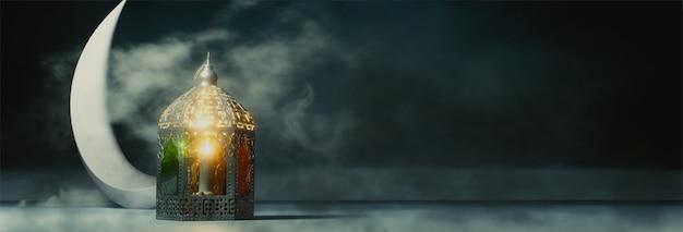 Ilustración de render 3d de luna creciente y linterna iluminada