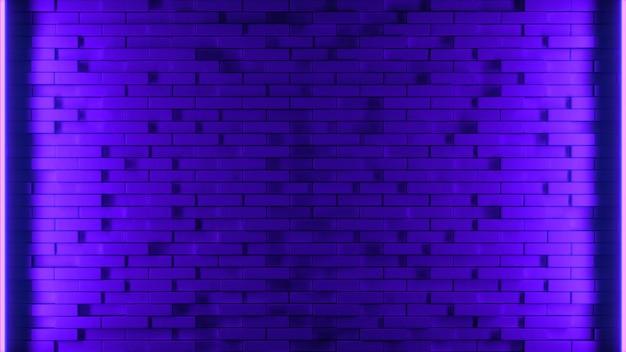 Ilustración de render 3d pared de ladrillo azul y púrpura con fondo de luz de neón