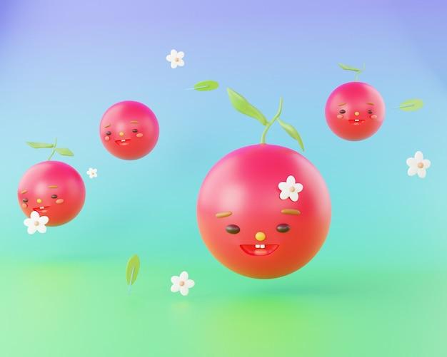 Ilustración de render 3d de personaje lindo de cerezas 3d de dibujos animados