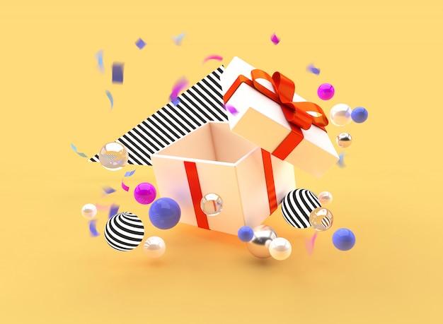 Ilustración de render 3d regalo de promoción de vacaciones bolas de la caja de la bandera