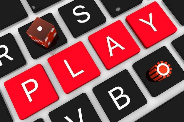 Ilustración de render 3d. teclado de computadora portátil con tecla casino. concepto en línea de juegos de azar portátil de internet.