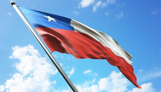 Ilustración de renderizado 3d de alta resolución de la bandera de chile con un fondo de cielo azul