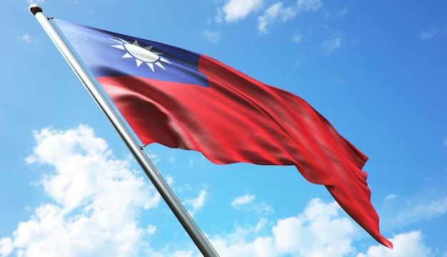 Ilustración de renderizado 3d de alta resolución de la bandera de taiwán con un fondo de cielo azul