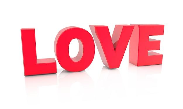 Ilustración de renderizado 3d de amor sobre un fondo blanco