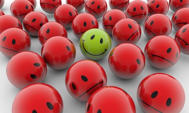 Ilustración de renderizado 3d de bolas rojas con emociones tristes y una feliz verde sobre una superficie blanca