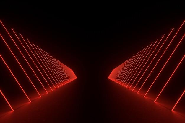 Ilustración de renderizado 3d. futurista de ciencia ficción oscura habitación vacía con neón brillante.