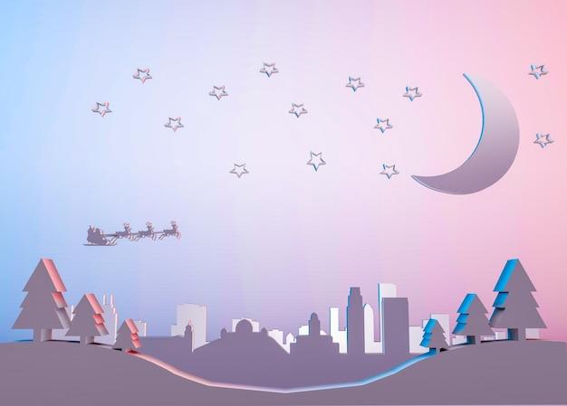 Ilustración de renderizado 3d del horizonte de la ciudad de los ángeles