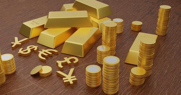 Ilustración de renderizado 3d de lingotes de oro y símbolos de moneda de oro en la mesa de madera.