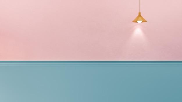 Ilustración de renderizado 3d de pared de yeso de color rosa caramelo con moldura azul menta y panel, una lámpara colgante. luz direccional. copia espacio