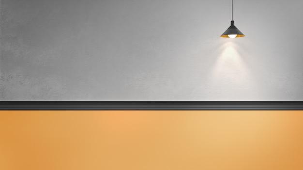 Ilustración de renderizado 3d de pared de yeso gris con molduras negras y panel amarillo, una lámpara de cobre colgante. luz direccional. lugar para el texto