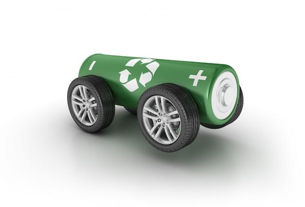 Ilustración de renderizado de batería sobre ruedas