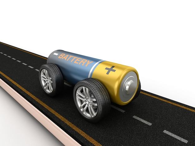 Ilustración de renderizado de carretera con batería sobre ruedas