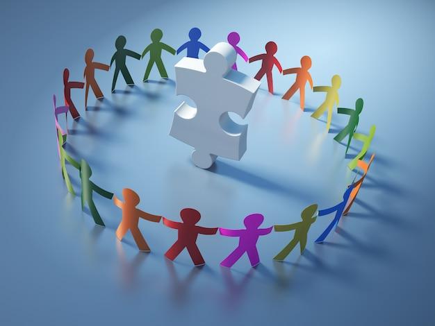 Ilustración de renderizado de pictograma de trabajo en equipo personas con pieza de rompecabezas