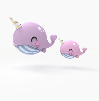 Ilustración de la representación 3d de la ballena kawaii, narwal en el mar. personaje de dibujos animados lindo ballena y vaquita