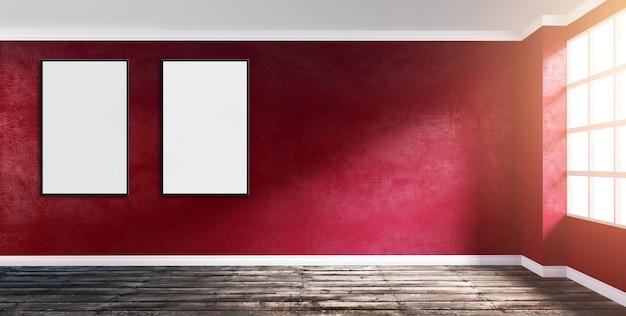Ilustración de la representación 3d de la esquina grande moderna de la habitación vacía con la pared de yeso rojo rubí, el piso de madera áspero, la ventana y dos marcos vacíos. sol de la mañana.